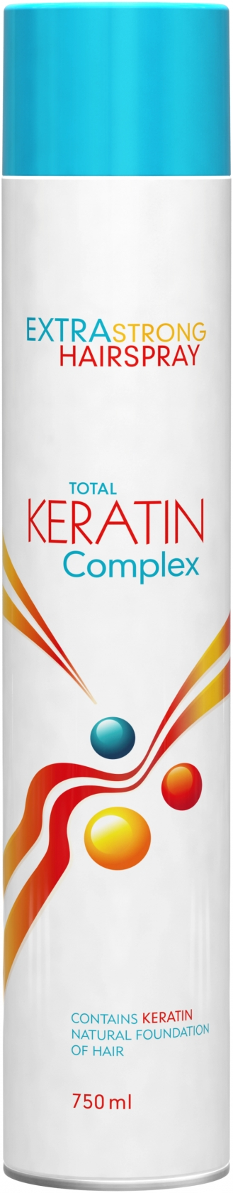 Total Keratin Complex Extra Strong Hair Spray 750 ml -  keratinový lak na vlasy ultra silný