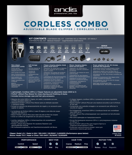 Andis Cordless Combo